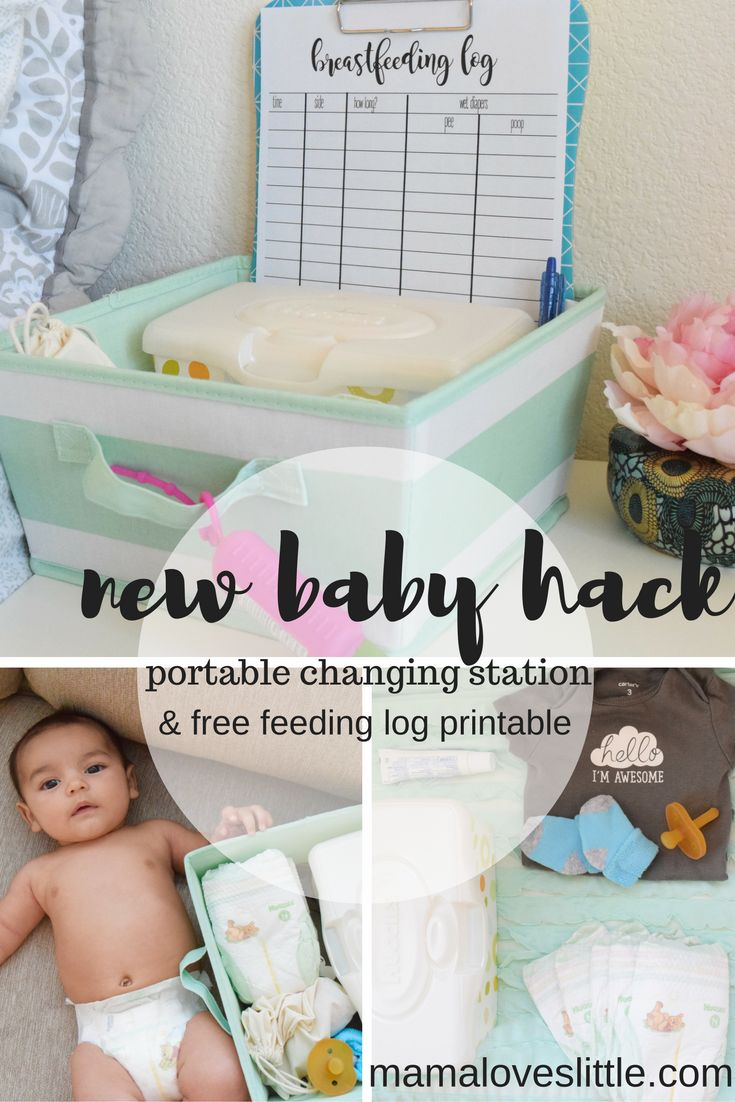 Diapering husband for bed - Mama Loves Little New Baby Hack Portable Diaper Changing Station Free Feeding