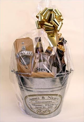 Unique Groomsmen gifts: Instead of a stainless steel flask, fill a stainless steel bucket they can use for ice with a beer connoisseur's goodies. Create your own 6 pack of various types for each guy, for example a few different Belgian ales, or IPA's that he may have not tried (Total Wine and Whole Foods are great resources). Add a monogrammed mug and the clincher, a monogrammed permanent beer opener he can hang next to his fridge.