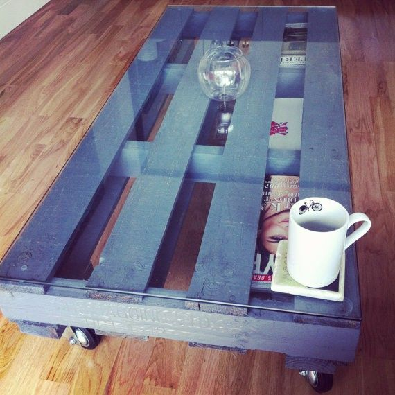 Pallet coffee table with four industrial caster wheels and perfect magazine storage. via London Pallet Company. Click on the image to see more!