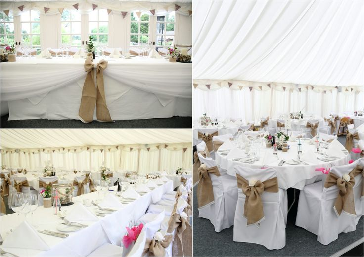 hessian bows and bunting at Le Talbooth wedding essex