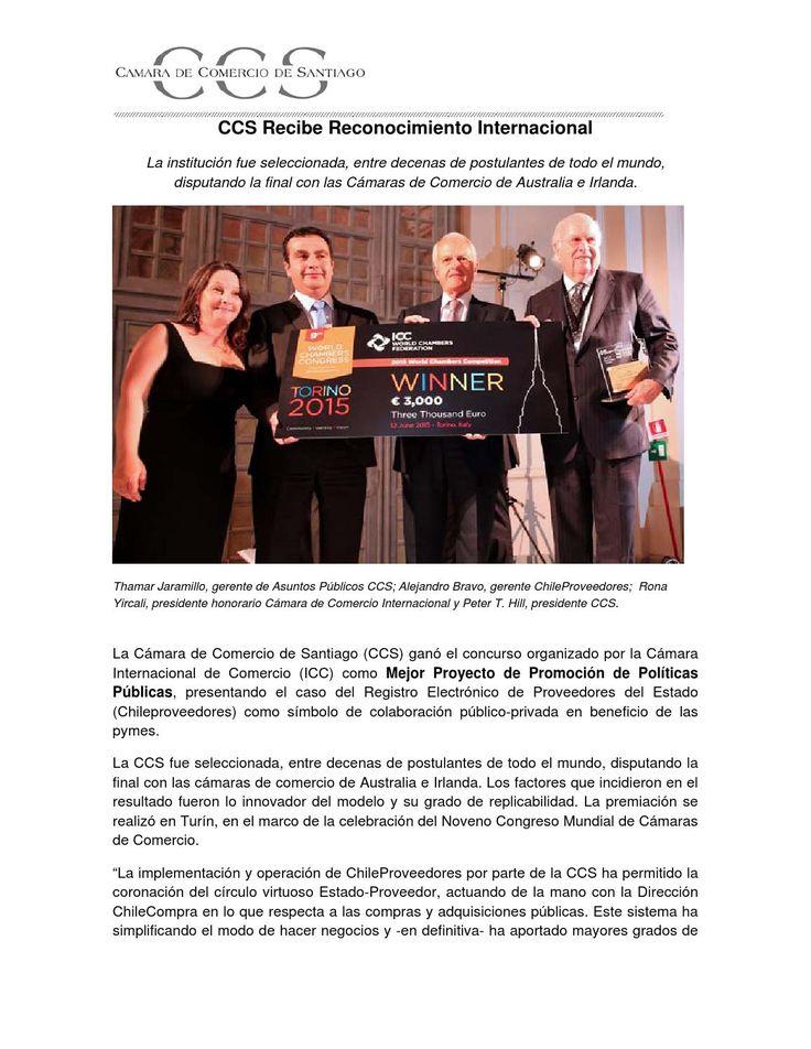 CCS recibe reconocimiento internacional