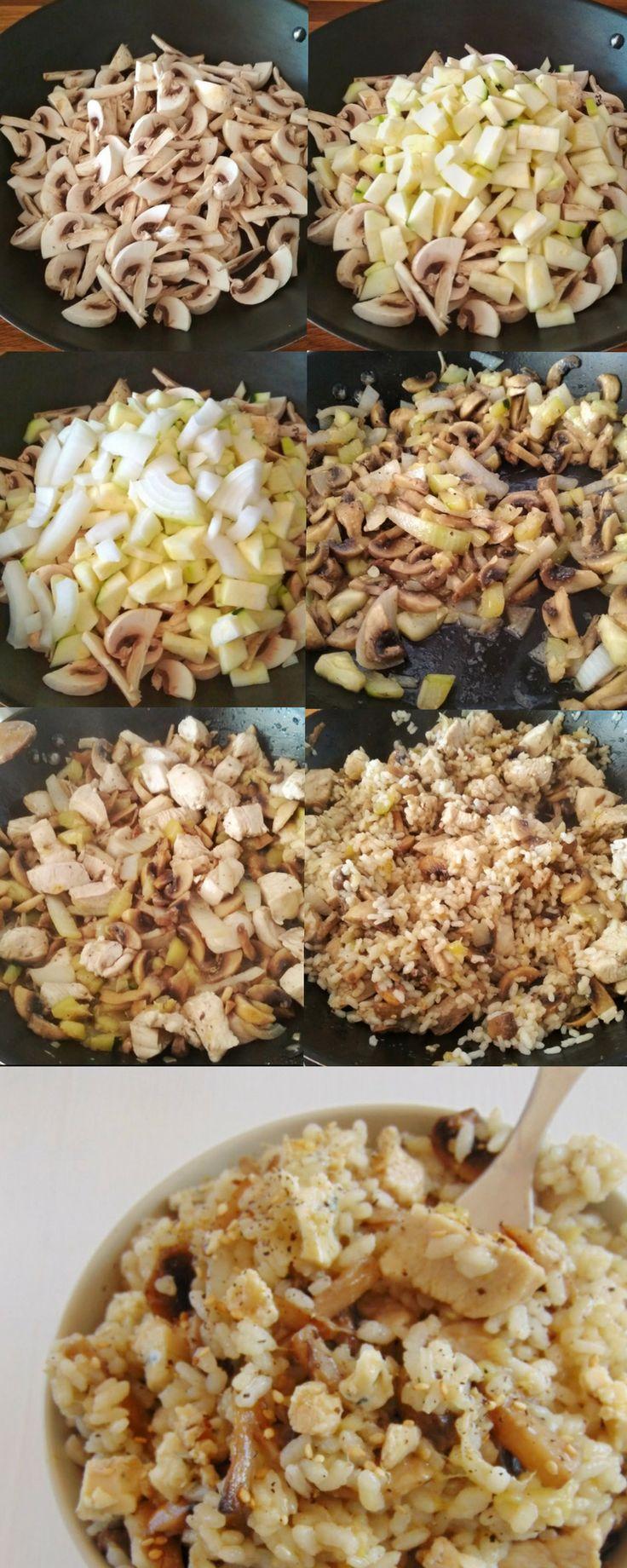 POLLO CON arroz,calabacín y champiñones.  Pinterest | https://pinterest.com/elcocinilla