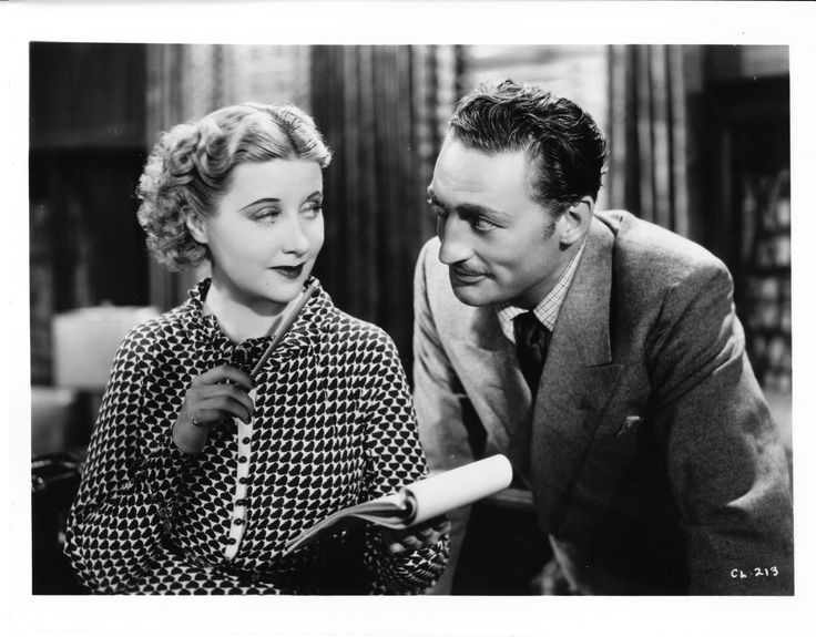 Genevieve Tobin as Della Street, Warren William as Perry Mason in The Case of the Lucky Legs (1935).  From the Jim Davidson Collection.