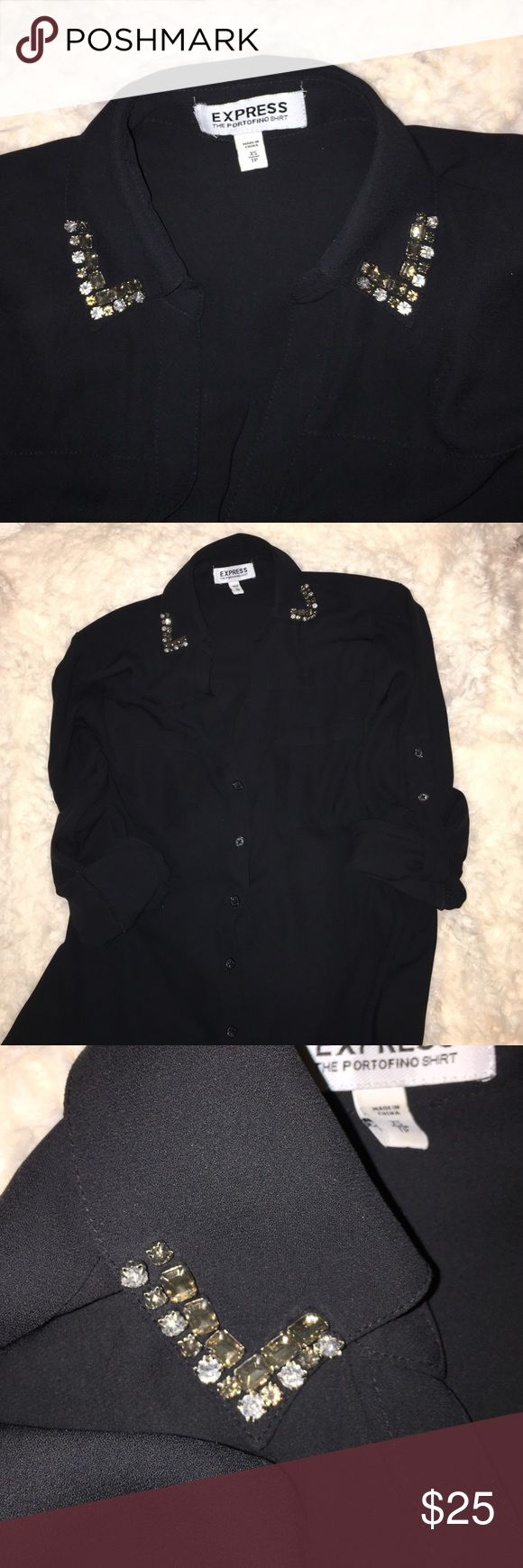Button Down Blouse Solid black with sequins on ends of collar. No loose or damaged stones. Stone colors are silver, gunmetal and a pale gold. Has convertible sleeves- meaning two buttons to adjust height when rolled up or flattering option to have them down at wrist length. Express Tops Button Down Shirts