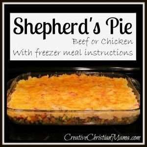 Shepherd's Pie- good frozen meal idea. -I think I'll add some greens and quinoa