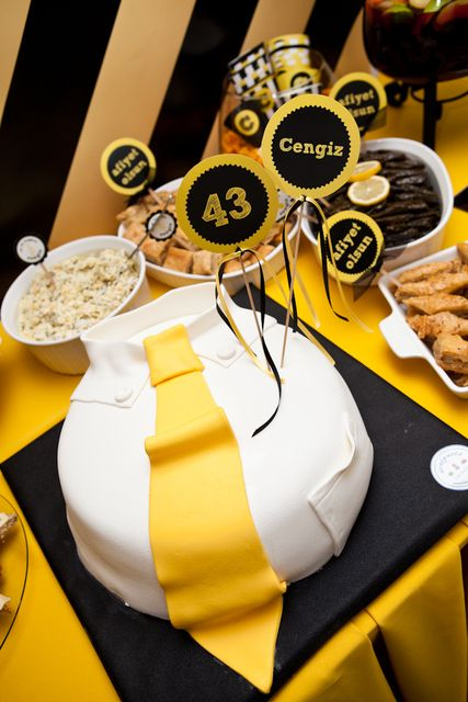 Shirt and tie cake at a black and yellow party #blackyellow #cake
