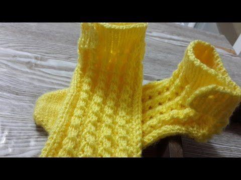 2 şiş ile çorap dikişsiz tek seferde sende yap - YouTube