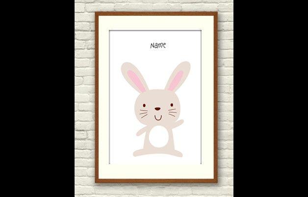 Bild A4 *kleiner Hase* individualisierbar. Poster/ Bild für das Kinderzimmer. Der Druck mit kleinem Hasen hat A4 Maße (ca. 21x29cm) Dieser süße Druck für das Kinderzimmer kann individualisiert...