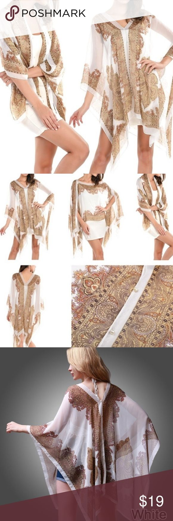 """🌺JUST IN🌺 Multi Style Beach Cover Super cute and versatile sheer cover up. Easily throw it over your bathing suit as a stylish kaftan or over a tank top and shorts for a great causal outfit!! Approximately 39""""x62"""" - only available in white.  ✨ Sizes: One Size  ✨Material:  Chiffon ✨Pattern: White with gold design ✨Note from Manufacturer: There may be a 2-3% difference according to manual measurement. Please check the measurement chart carefully before you buy this item. Sizing has been…"""