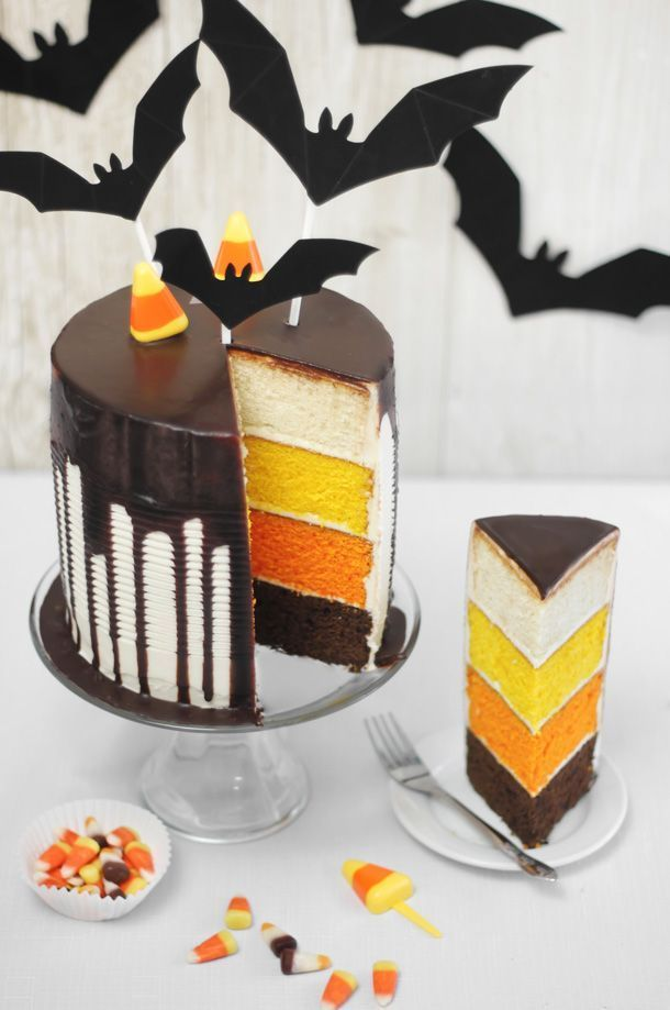candy corn tuxedo cake - Simple Halloween Cake Decorating Ideas