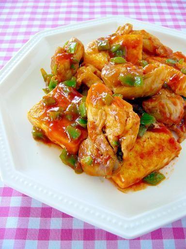 甘辛味の「鶏肉と豆腐の炒めもの」