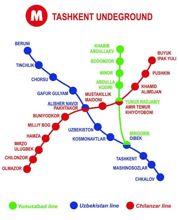 Taskent Uzbekistan Metro Map | Metro Map | Bus Routes | Metrobus ... Taskent Uzbekistan Metro Map