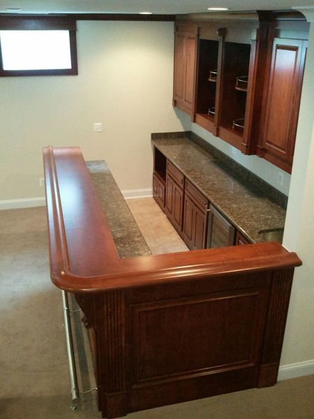 L shaped basement bar designs