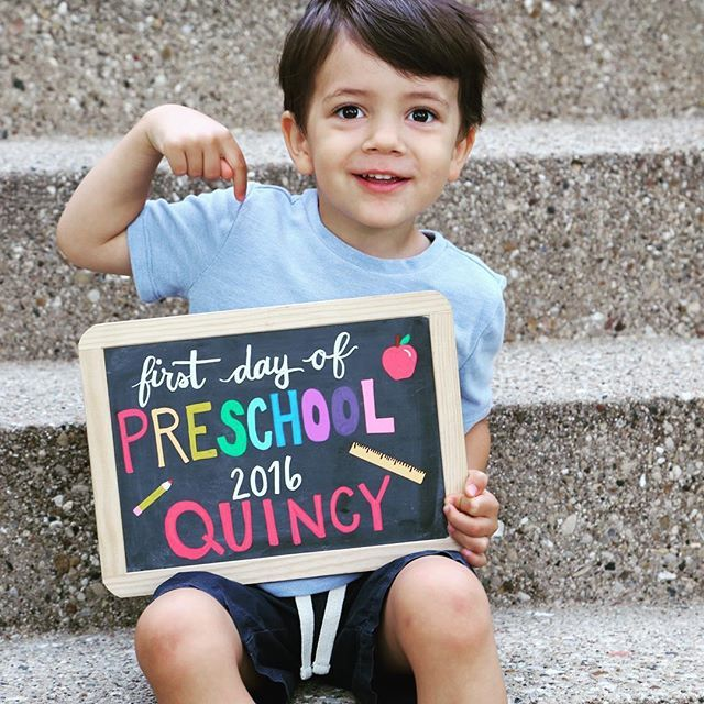 First Day of School chalkboard art sign. So easy to make one of these each year using the same chalkboard and our Bistro Chalk Markers.