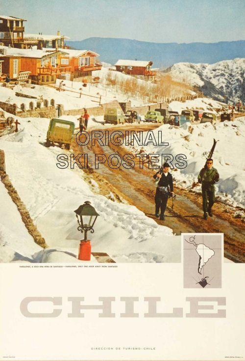 vintage ski poster Farellones, Chile c.1960