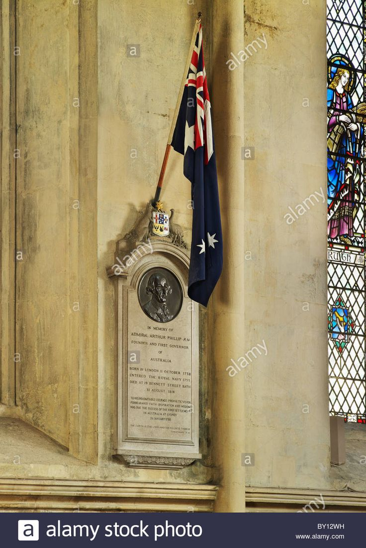 Bath Abbey, memorial plaque to  Admiral Arthur Phillip, died 1814, founder and first Governor of New South Wales 1788 Stock Photo