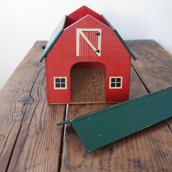 vintage red toy barn by cottagefarm on Etsy