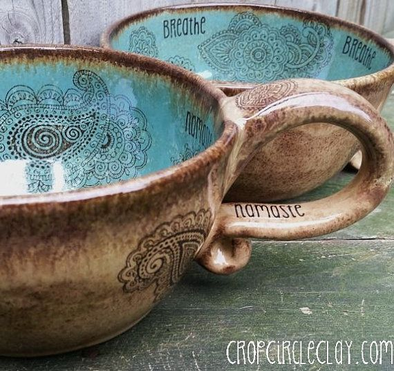 MADE TO ORDER Coffeehouse Oversized Coffee Mug Dragonfly Peace Mehndi Henna Tattoo Pink Blue Brown Rustic Earthy wheel thrown pottery