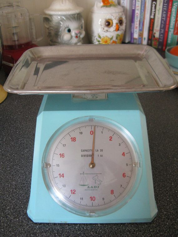 Midcentury Aqua Kitchen Scale by Ladi Italy by 100PercentPolyverse
