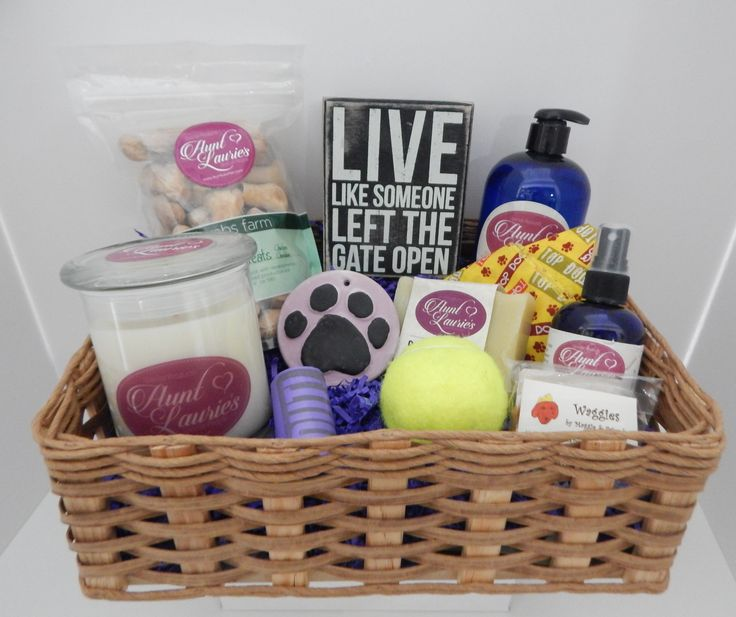 """Just Dogs"" Gift Basket, Large, featuring all natural shampoo, paw balm, spritz, doggie soap, and dog biscuits. Also includes pet odor candle, sign, and bandana."