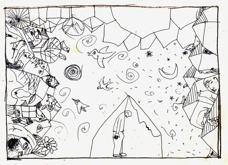 cobe.micile incidente ale vietii, varianta nefinalizata. desen in tus,schita pentru gravura in aquaforte