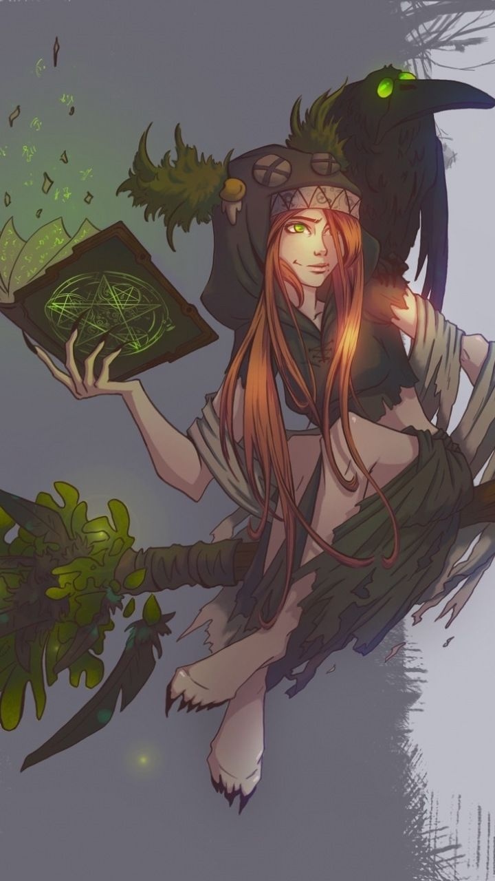 witch flight on broom artwork fantasy 720x1280 wallpaper