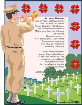 """C'est le poème """"Au champ d'honneur"""" Remembrance Day chart and colouring page!"""