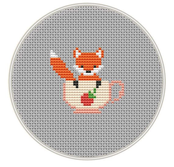 Fox Cross stitch pattern, Mini cross stitch pattern