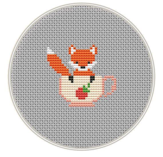 Fox Cross stitch pattern Mini cross stitch door MagicCrossStitch