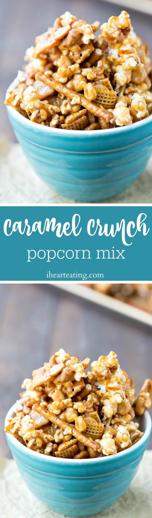 Caramel Crunch Popcorn Mix Recipe - made with popcorn, cereal, pretzels, and nuts, this snack mix is sure to please!