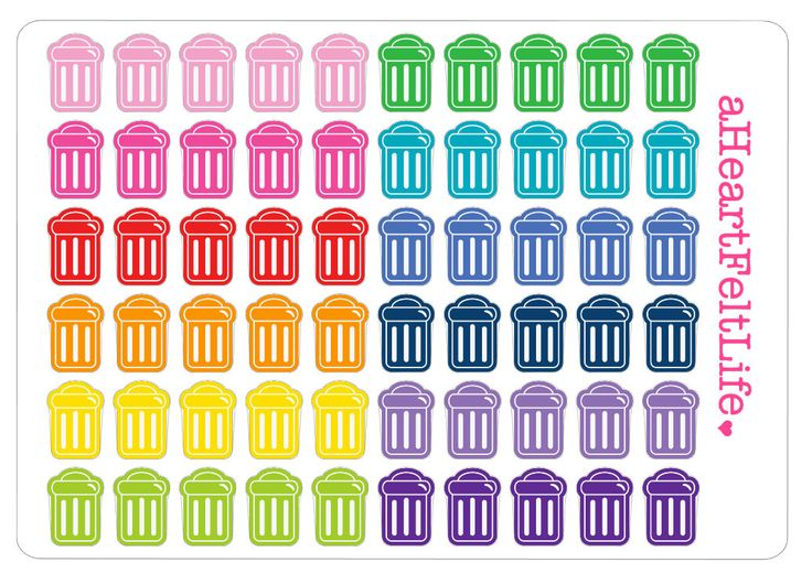 Miniature Rainbow Trash Can Planner Stickers, Erin Condren Planner Stickers, Filofax, Kikki K, Scrapbook Stickers, Calendar Stickers, etc. by aHeartFeltLife on Etsy https://www.etsy.com/listing/246398712/miniature-rainbow-trash-can-planner