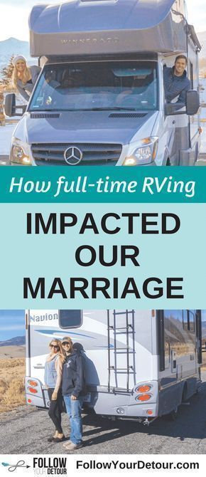 Don't you get sick of each other? That's a common question this full-time RV couple gets asked about living and marriage on the road. Read their post to hear more about how RV life has impacted their #marriage If you are considering RVing full-time or taking frequent camping and road trips, as a couple, this is a MUST read! They also give many RV and camping tips, hacks, and travel advice for the lifestyle! #RV #rvliving #camping #rvlife #gorving #travel #couple #travelblog #rvlifestyle…