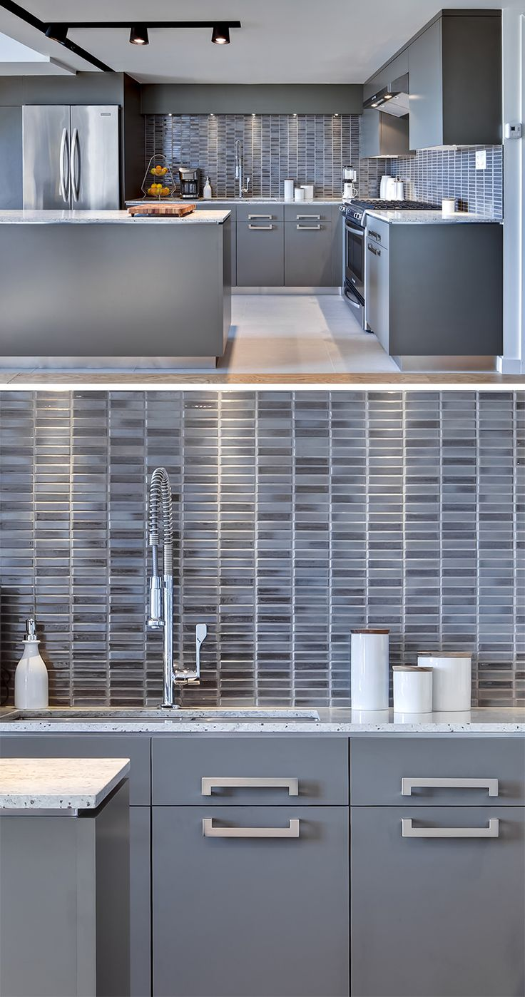9 Inspirational Kitchens With Geometric Tiles // Rectangular tiles of varying shades of blue-grey compliment the colors used throughout this kitchen.