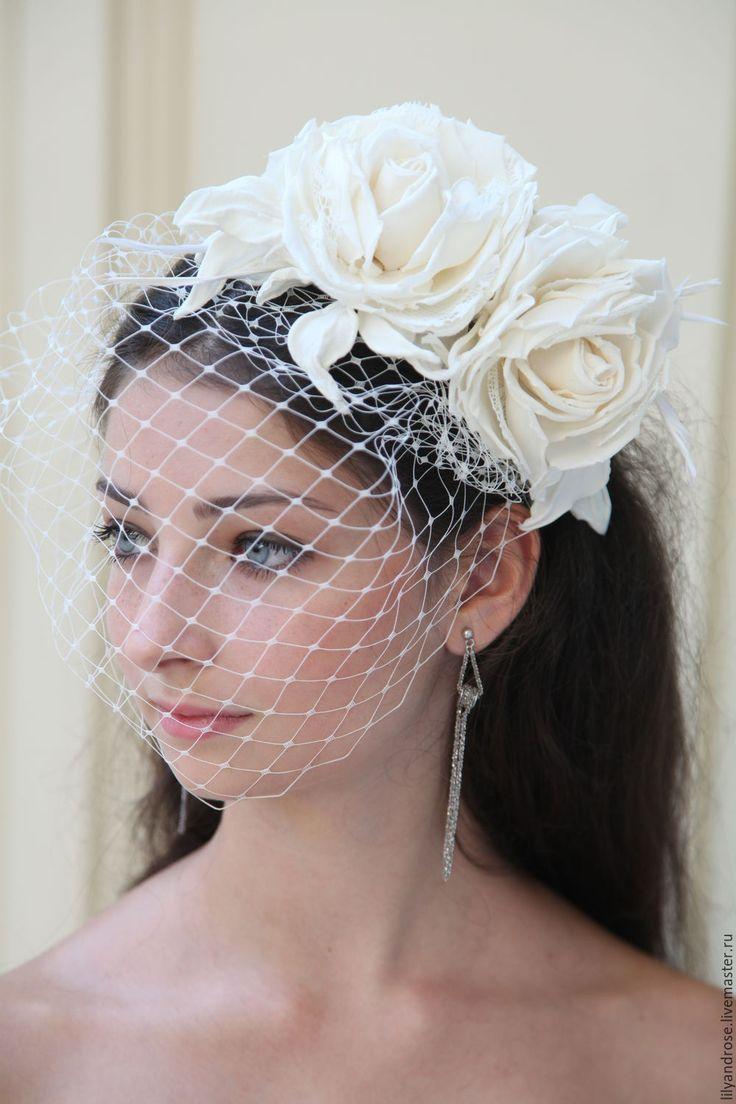 Handmade wedding hat /  Свадебная шляпка с вуалью - свадебная шляпка с вуалью, ободок с белыми розами