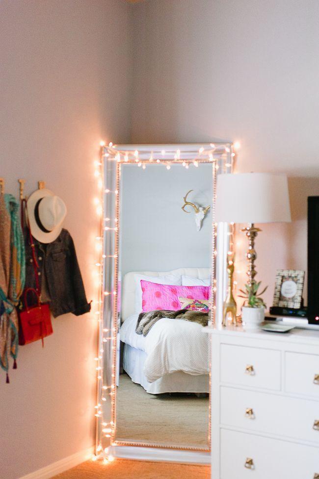 Beleuchtung Deko Ideen Schlafzimmer Spiegel Kissen Bett Cat Art