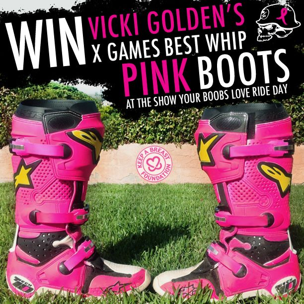"Want to win Vicki Golden's custom PINK Alpinestars boots from her 2013 X Games Best Whip bronze medal run? Head out to the Metal Mulisha Rockstar Energy Drink Show Your Boobs Love Ride day at Pala Raceway and buy a Keep a Breast Foundation ""I Love Boobies"" bracelet to enter! For more info on our up coming breast cancer awareness ride day, visit our website https://www.metalmulisha.com/blog/2013/10/metal-mulisha-keep-a-breast/"