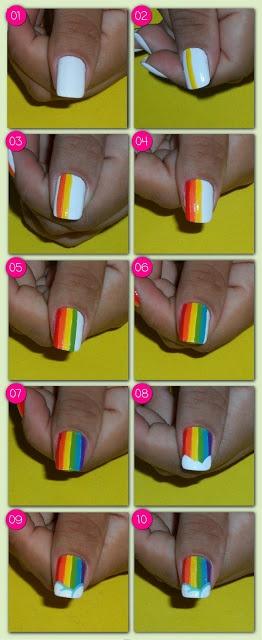 Passo a passo da Unhas Decorada - Arco-íris