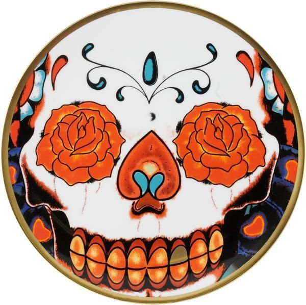 """8"""" Colourful Cake Plate taken from the 'Inkhead' range, beautifully designed by Florian Hutter. Taking inspiration from tattoos and edgy art, 'Inkhead' features a vibrant and bold skull design full of colour and detail. Hand gilded 22kt Gold rim and accents – gold tooth, made in Stoke-on-Trent, England. Fine Bone China. Perfect for your favourite treats and snacks. Find out more here: https://thenewenglish.co.uk/collections/inkhead #TheNewEnglish #Inkhead #Tattoos"""