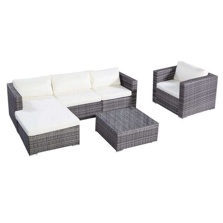 Tangkula 6Pc Furniture Set Aluminum Patio Sofa Pe Gray Rattan Couch 2 Set Cus...