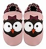 Pink Girl Owl Leather Baby Shoes