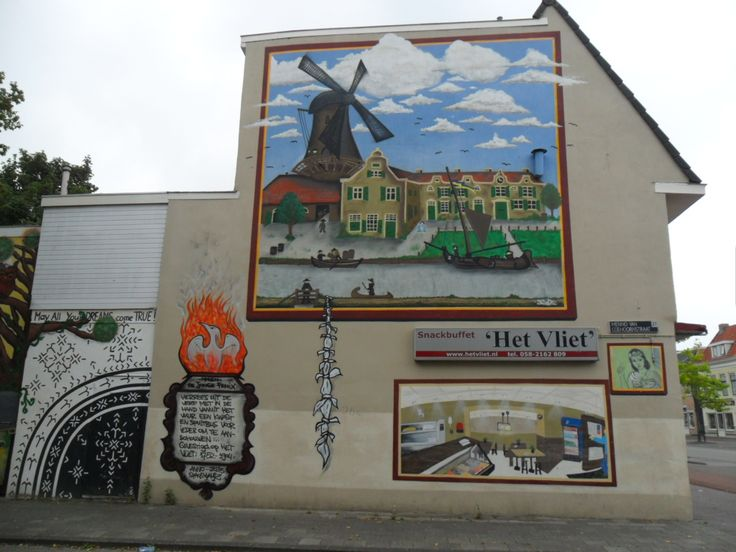 Mural near Vliet. On this place there once stood a windmill. Building now houses a cafetaria/snackbar Het Vliet. Augustus 2016.