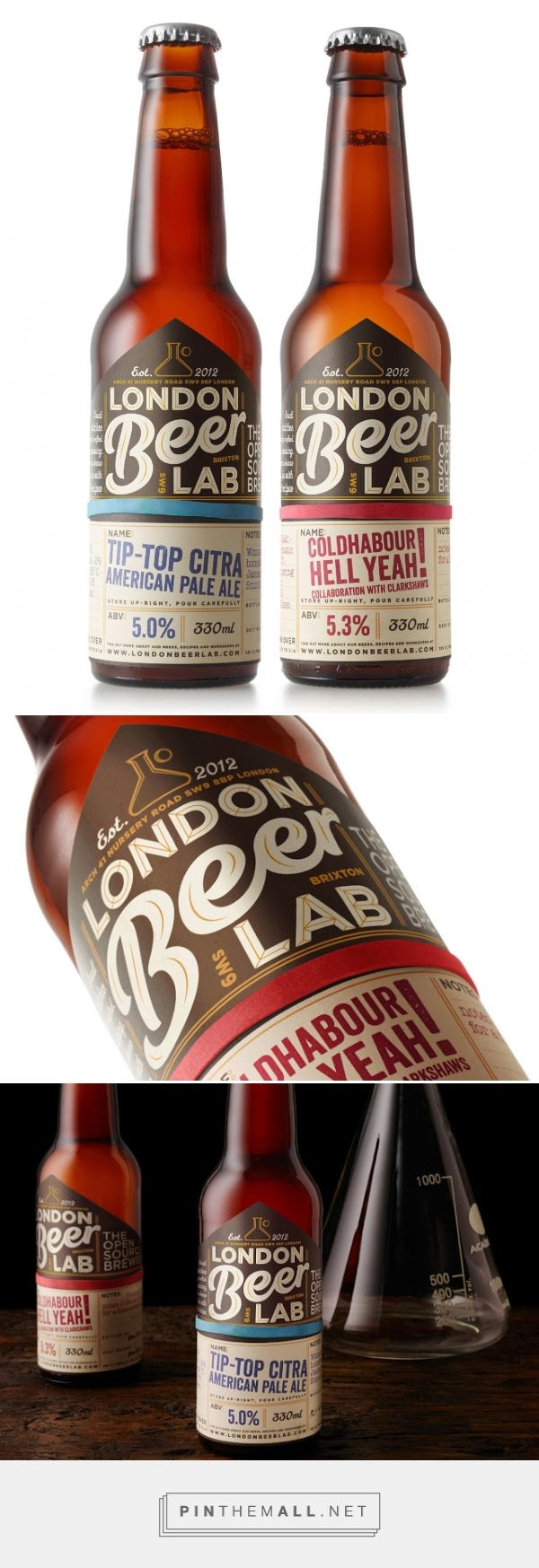 London Beer Lab packaging label designed by Elmwood Brand Design (UK) - http://www.packagingoftheworld.com/2016/01/london-beer-lab.html