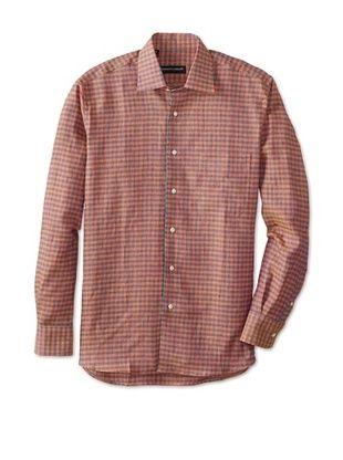 61% OFF Kenneth Gordon Men's Gingham Spread Collar Sportshirt (Red)