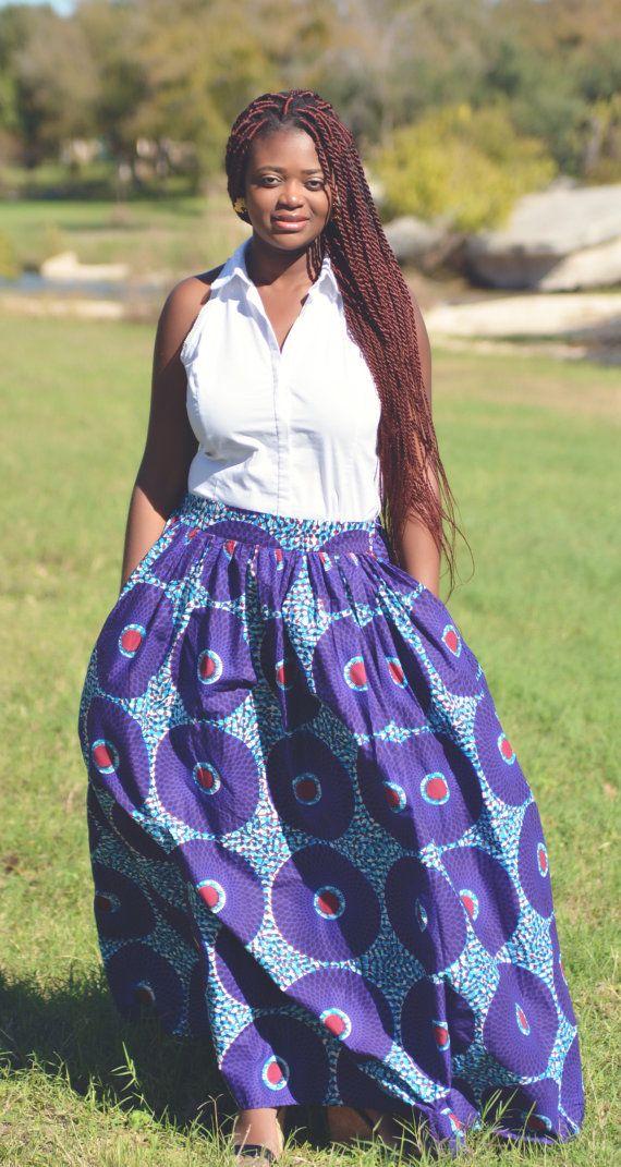 NEW Purple Turquoise Maxi Skirt Maxi Skirt  by MsAlabaAfricanShop