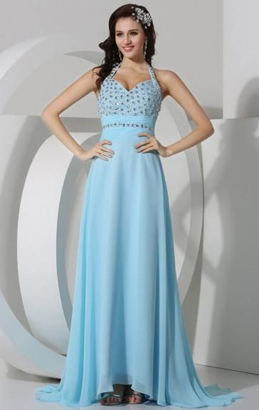 Unique Chiffon Blue Bridesmaid Dress BNNBC0040-Bridesmaid UK