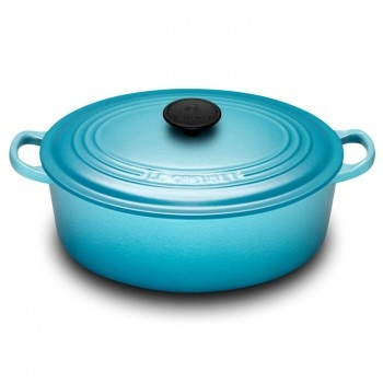 "Le Creuset ""Teal"" 27cm Oval French Oven - Teddingtons"