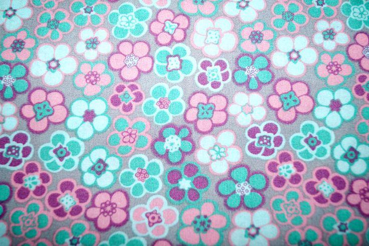 Stenzo15 7002-16 Cotton poplin bloemetjes grijs/groen/roze