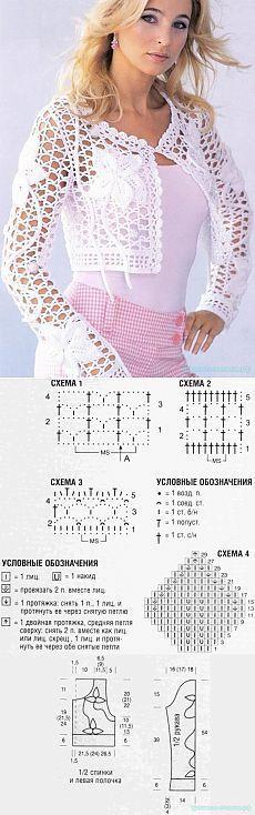 Красивое вязание   Ажурное болеро: