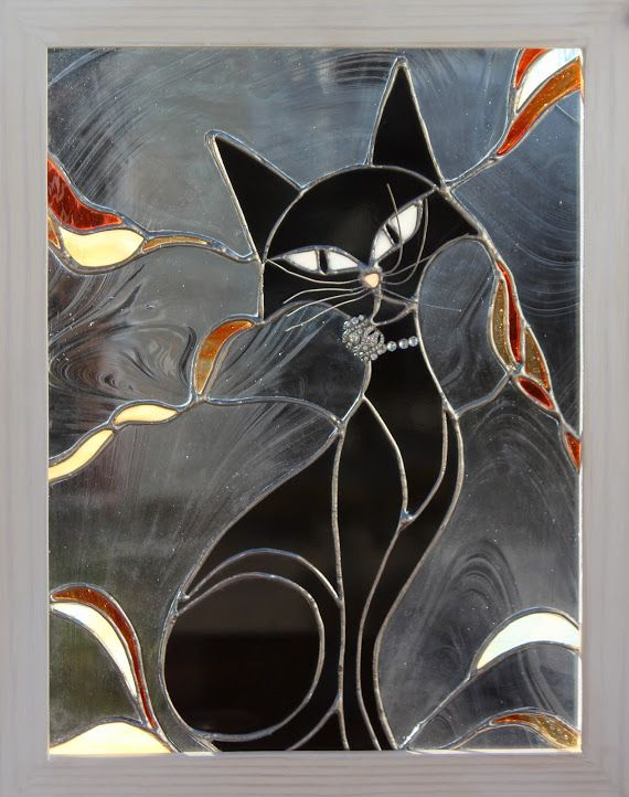 stained glass whimsical  black cat for sale see  facebook page : Unique stained glass by Sylvie