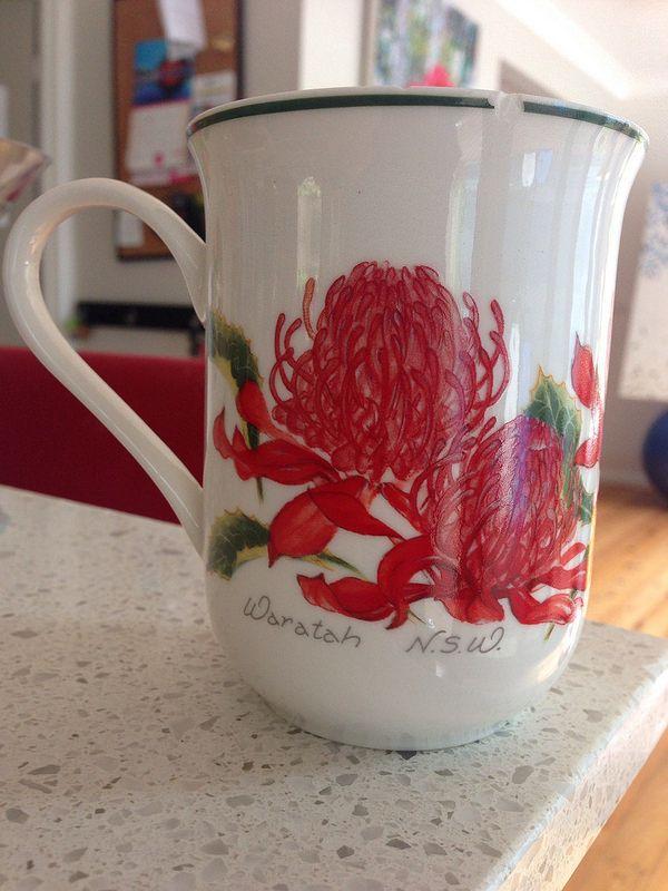 Waratah on Coffee Cup